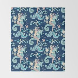 Lovely Ice Queen Mermaid Throw Blanket