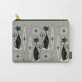 Mid Century Meow Retro Atomic Cats - Gray Carry-All Pouch