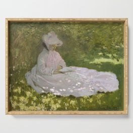 Springtime by Claude Monet Serving Tray