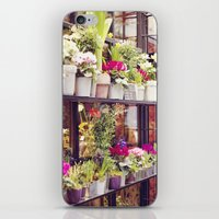 outdoor iPhone & iPod Skins featuring Outdoor Paris Flower Market by Christy Simmons
