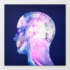 Abstract Space / Universe / Galaxy Face Silhouette  Canvas Print