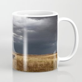 Life on the Plains - Cow Watches Over Playful Calf in Oklahoma Coffee Mug