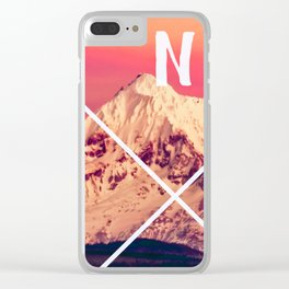 Snowy Mountain Compass Clear iPhone Case