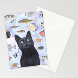 The Hungry Black Cat Gazing at a Fish Tank Stationery Cards