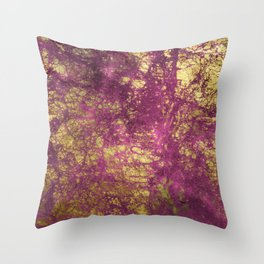 Pink-Magenta Elegant Marble With Ornate Gold Veins Throw Pillow