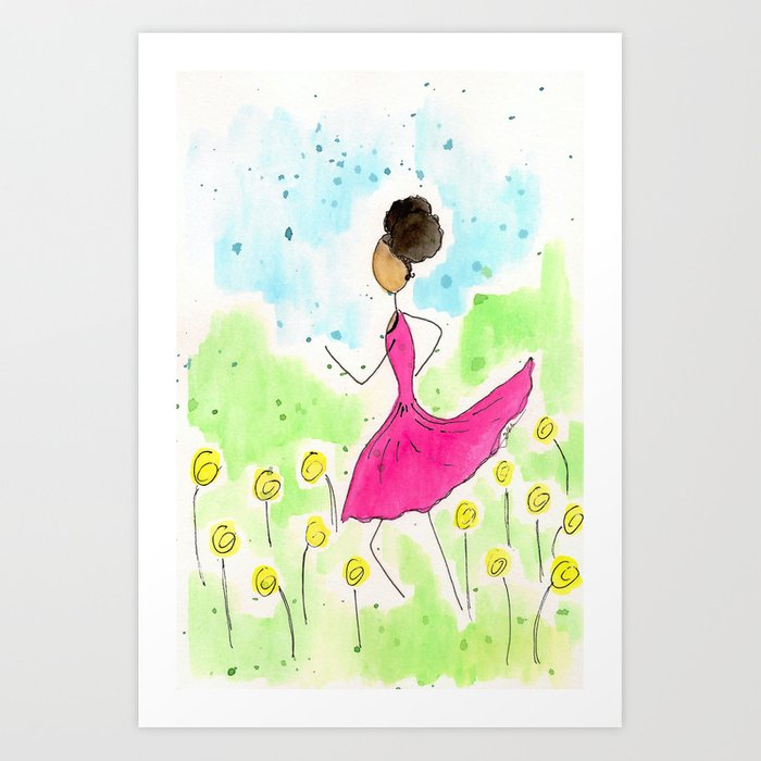 Tia Running So Happy Art Print