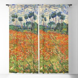 Poppy Field by Vincent van Gogh, 1890 painting Blackout Curtain