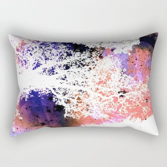 White Trees Colorful Space Rectangular Pillow