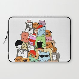 Cute Cats and Dogs Doodle Laptop Sleeve