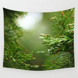 Evergreen Rainy Bokeh Wall Tapestry