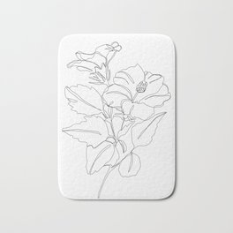 Floral one line drawing - Hibiscus Bath Mat