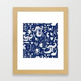Under The Sea Navy Blue Framed Art Print