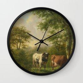 Landscape with Cattle, Adolf Karel Maximiliaan Engel, 1827 Wall Clock