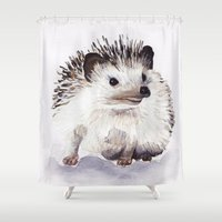 hedgehog Shower Curtains featuring Hedgehog by Bridget Davidson