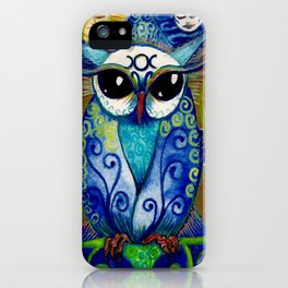 By all the Might of Moon & Sun,  Owl.  Print of original illustration by Artist Sheridon Rayment iPhone Case