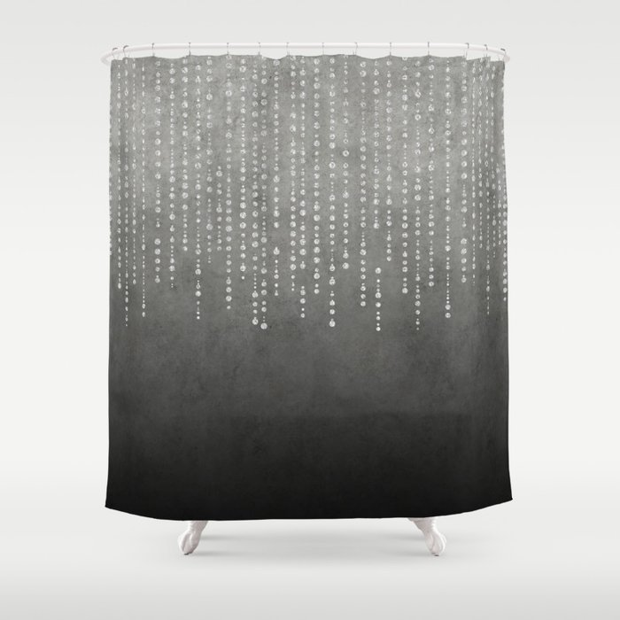 Silver Glamour Faux Glitter on grey Texture Shower Curtain