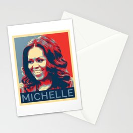 Michelle Obama Portrait Red Blue Pop Art Stationery Cards