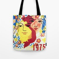 1975 Tote Bags featuring Vietnam propaganda poster - 1975 Spring of Reunion by Vietnam Propaganda artworks