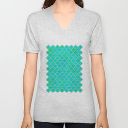 Mermaid's Wall (Dreamy Blues & Greens with Silver accent) Unisex V-Neck