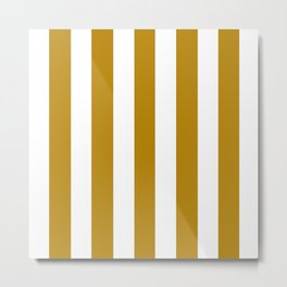 Dark goldenrod brown - solid color - white vertical lines pattern Metal Print