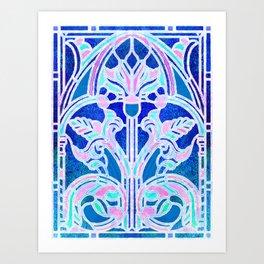 Art Nouveau Blue and Pink Batik Texture Art Print