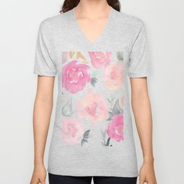 Muted Floral Watercolor Design  Unisex V-Neck