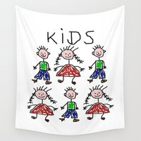kids Wall Tapestries featuring Kids by Digital-Art