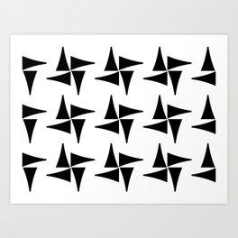 Black and White Pinwheel Pattern Art Print