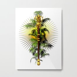 growing power, royal scepter with palm tree in front of aureole Metal Print