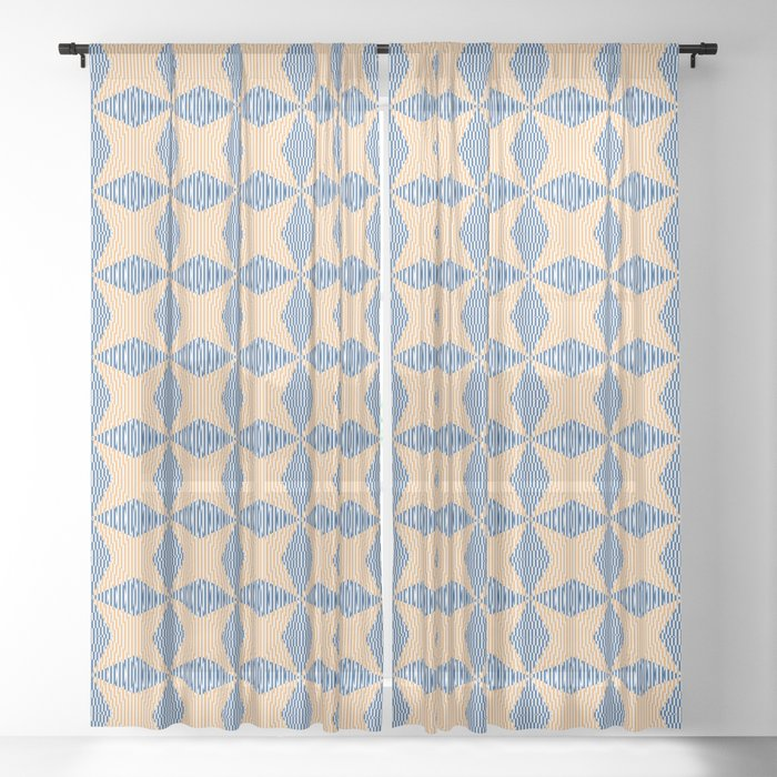 Crossing the lines - the blue and yellow  optical illusion Sheer Curtain