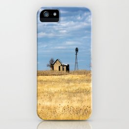 Fields of Gold - Abandoned House and Windmill in Golden Prairie Grass in Oklahoma iPhone Case