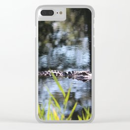 Alligator Moving Along Clear iPhone Case