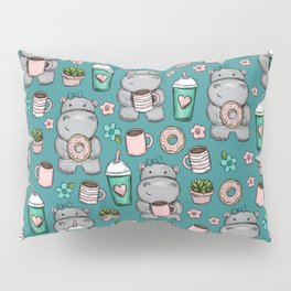 Cute Little Hippo, Lattes and Donuts, Pink and Blue Illustration, Happy Hippopotamus, For Girls Pillow Sham