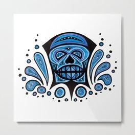 Blue Skull Metal Print
