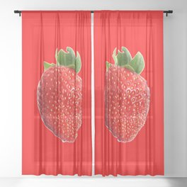 Summer Strawberry Sheer Curtain