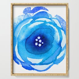 Blue Floral Watercolor Abstract Painting Serving Tray