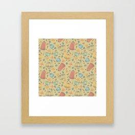 scattered autumn pumpkins on yellow Framed Art Print