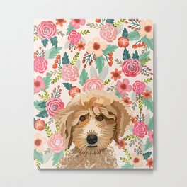 Poodle floral pet portrait dog breed gifts for pure breed dog lovers Metal Print
