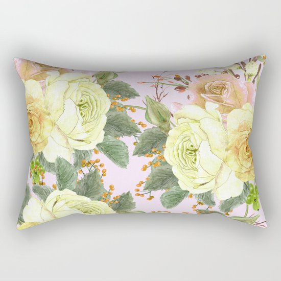 Watercolor Roses #4 Rectangular Pillow