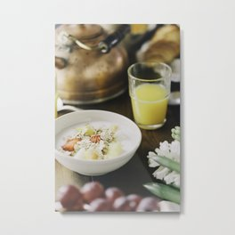 breakfast with tea croissant and orange juice. Metal Print