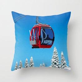 Aspen Colorado Ski Resort Cable Car Throw Pillow