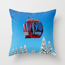 Aspen Colorado Ski Resort Cable Car Throw Pillow