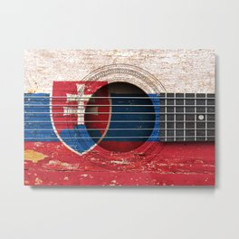 Old Vintage Acoustic Guitar with Slovakian Flag Metal Print