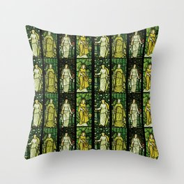 """William Morris """"Four seasons"""" (Dining Room at Cragside House, Northumberland, UK) Throw Pillow"""