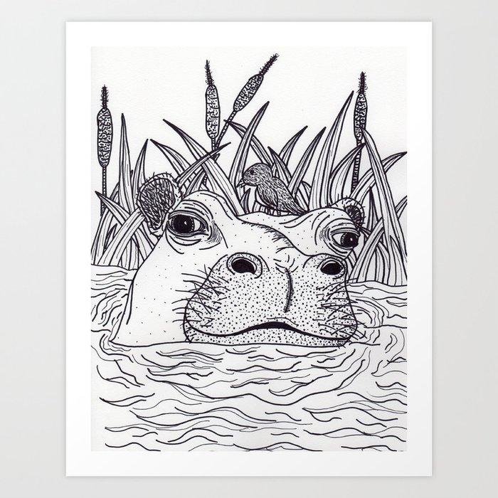 Black and White Hippo Kunstdrucke
