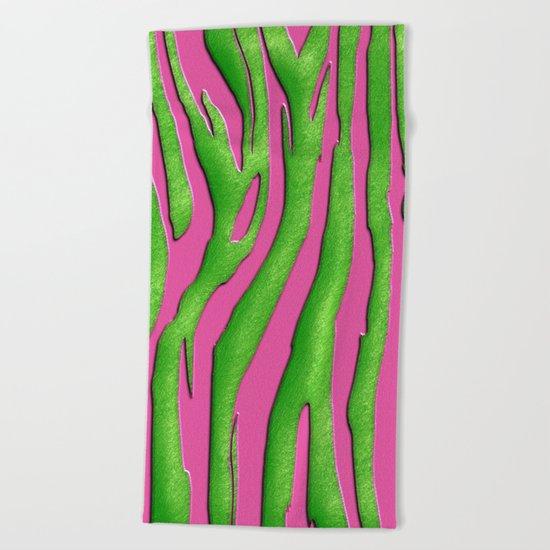 Bright Pink & Green Zebra Print Beach Towel