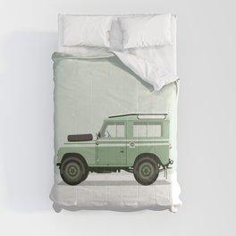 Car illustration - land rover defender Comforters