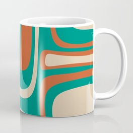 Palm Springs Midcentury Modern Abstract Pattern in Mid Mod Orange, Beige, and Turquoise Coffee Mug