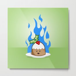 Flaming Pudding Metal Print