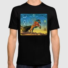 The Wind of Time (Red Horse) MEDIUM Black Mens Fitted Tee